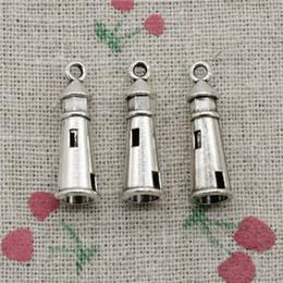 Wholesale Lighthouse Bracelets - 85pcs Charms Antique Silver hollow 3D lighthouse 25*8mm Pendant Zinc Alloy Pendant DIY Makeing Jewelry Bracelet Necklace Fittings