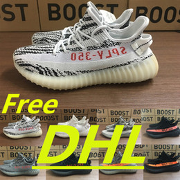 Wholesale Buttons Black Leather - DHL free With box Kanye West Sply Boost 350 V2 zebra Black White Green Glow kamatiti Men Women ultra nmd smith Running Shoes