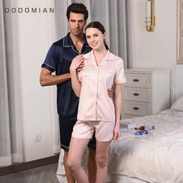 Wholesale Couple Pajamas Set - Wholesale- DO DO MIAN New Arrivals Summer Couples Pajamas Sets Sleepwears Satin Silk Pijamas Nightie Casual Female Shirt+Shorts PJS Pyjama