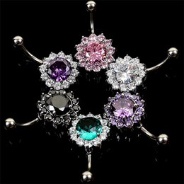 Wholesale Alternative Ring - New Body Jewelry titanium steel silver AAA multicolor zircon Body piercing navel ring navel alternative act the role umbilical ring 2990
