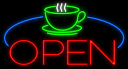 "Wholesale Green Table Restaurant - Coffee Cup Table Open Neon Sign Handcrafted Custom Real Glass Tube Bar Restaurant Bakery Pastry Store Advertising Display Neon Signs 37""X20"""