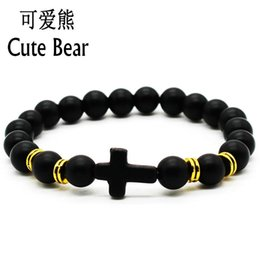 Wholesale Bead Bear - Wholesale- Cute Bear Brand New Style Cross Bracelet 8 mm Natural Frosted Matte Stone Beads Bracelets Christian Faith Charm Bracelet Jewelry