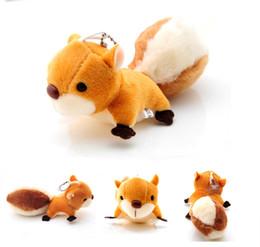 Wholesale- 8CM Super Cute Squirrel Plush Dolls Keychain Key Bag Pendente farcito Giocattoli per bambini Regali di Natale da