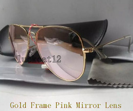 Wholesale Flash Alloy - 1pcs High Quality Mens Womens Designer Sunglasses Pilot Sun Glasses Gold Frame Colorful Flash Pink Mirror Glass Lenses 58MM 62MM With Case