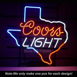 coors neon light light Promotion En gros - Néon Coors Light Texas Lone Star Néon Light Real Tube En Verre Custom LOGO Ampoules Bière Bar Pub Mur Neon Glass Light 17x14