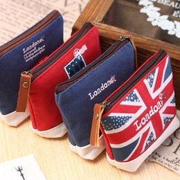 Wholesale Sewing Stamps - Wholesale- Lovely Cartoon Sewing London Bus England Flag Soldier Stamp Fashion Stationery Coin Purse Key Bag Zipper Wallet Make Up Pouch