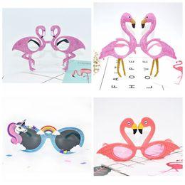 Wholesale Beach Events - Flamingo Unicorn Sunglasses Tropical Party Glasses Beach Party Fancy Dress Accessory Hawaiian Funny Glasses Eyewear Event Supplies LJJO3197