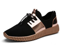 Wholesale Fashion News Men - 2016 News Men Women Casual Shoes For Couples Silver Gold Breathable Flat Heel Fashion Valentine Shoes Unisex Cool refresh shoe