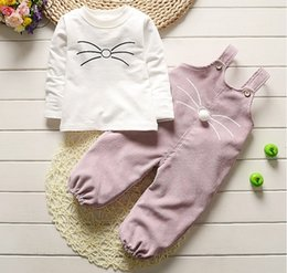 Wholesale babys girls - 2017 Baby Girls Outfits and Sets Babys Kids Clothes Fall Bow Long Sleeve T-shirts and Pants Sets