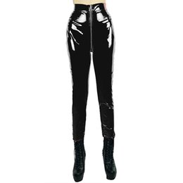 Wholesale New Look Leather Pants - Wholesale- HU&GH New Stylish Gothic Punk Shiny PVC Leggings Erotic Wet Look Faux Leather Pants Zipper to Crotch Vinyl Leggins Leggings