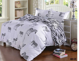 Wholesale White Twin Sheets - Wholesale- 3d black and white zebra bedding set queen double single size duvet cover flat sheet pillow case 3pcs bed linen set