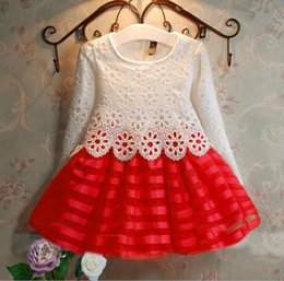Wholesale Mixed Blend Weaves - Spring Autumn Long Sleeve Spliced Lace Organza Crocheted Flower Woven Hollow Kids Girl Dress mix color 2-8 years