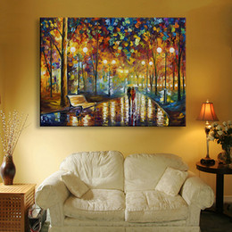 Wholesale Wall Street Canvas - The Street In The Rainy Day LED Flashing Optical Fiber Paintings Landscape Painting Home Wall Art Decor And Gifts Prints On Canvas