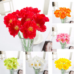 Wholesale artificial flowers poppies - PU Artificial flowers Mini Poppy Real Touch Wedding Decorative Fake Flower Home Decoration Accessories