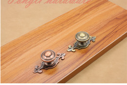Wholesale Cabinet Pulls Wholesale - Antique copper vintage Red bronze and Bronze single door knob pull kitchen cabinet drawer handler small furniture accessory #102