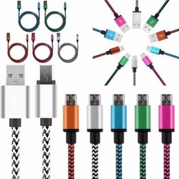 Wholesale Charger Bundle - 1m 2m Colorful Aluminum alloy micro fabric nylon braided usb data sync charger cable Accessory Bundles for samsung s3 s6 s7