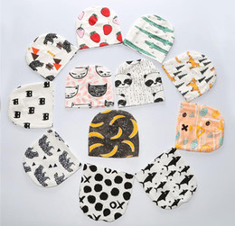 Wholesale Baby Girl Stocking Hats - Kids INS Baby Hat Animal Print Cotton Girl Boy Toddler Infant Kids Caps Cartoon Knit Bonnet Accessories 18 colors stock
