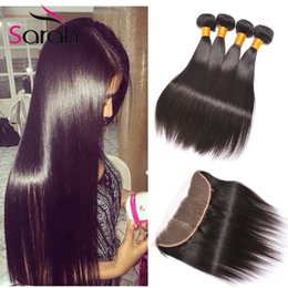 Wholesale Brazillian Hair Mix Weave - Brazillian Straight Virgin Hair Weaves Extensions With Lace Frontal Closure,1pcs 13x4 Lace Frontal With 3Pcs Human Hair Bundles 4Pcs Lot