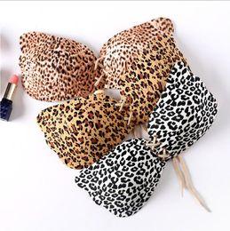 Wholesale bra leopard - Leopard Silicone Bras Women Push Up Bra Sexy Strapless Invisible Bra Wedding Bras Invisible Silicone Magic Push Up Invisible Bra KKA1750