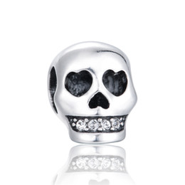 Wholesale Silver Skull Charms Beads - 5pcs lot Sterling Silver Beads Skull Charm Fit Pandora Bracelets Factory Wholesale