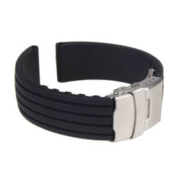 Wholesale 22mm Silicone Watch Strap - Wholesale- Silicone Rubber Watch Strap Band Deployment Buckle Waterproof Watchbands18mm 20mm 22mm 24mm Men's Women's Watch Strap