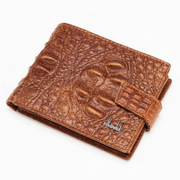 Wholesale Crocodile Leather Card Holder - Crocodile Grain Men Hasp Bifold Wallets Business Casual Cowhide Leather Short Card Holder Wallet Black and Brown Color A327