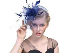 Wholesale Netted Bridal Headpieces - 2017 Retro Feather Net Yarn Small Hat Headpieces Party Bride Hair Ornaments Bridal Hats,Fascinator Hats,8 Color