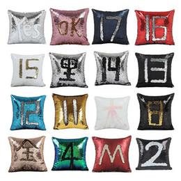 Wholesale Orange Sofa Cushion Covers - 40cm *40cm Color Changing Reversible Pillow Case DIY Mermaid Sequin Cushion Cover Home Decoration Sofa Bed Decorative Pillow