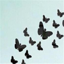 Mariposas plateadas para decoracion online-3D Modern Silver / Black Butterfly Shape Acrílico Material Superficie del espejo Etiqueta de la pared Decoración del hogar