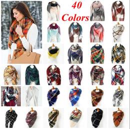 Wholesale Oversized Shawl Wraps - Plaid Scarves Check Pashmina Grid Striped Shawl Tartan Tassel Scarf Cozy Fashion Wraps Oversized Cashmere Lattice Neckchief Blankets OOA2740