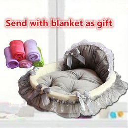 Wholesale Cat Beds Accessories - Princess Prince Soft Pet Dog Cat Bed House Sofa Mat Cushion Kennel With Ribbon Bow More Colors