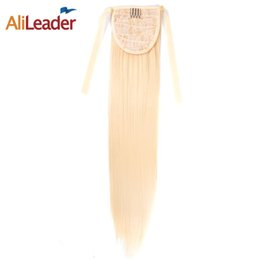Wholesale Long Auburn Ponytail Extension - AliLeader Auburn Ponytail Extension Blonde Black Pony Tail Hair Clip In Hairpiece Heat Proof Hair Synthetic Tail 18 Inch Long