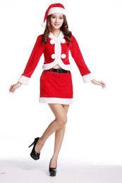 Giyim en çok satan ürün yumuşak kırmızı Noel elf takım üniforma seksi Noel Santa takım akrilik giyim toptan satış nereden