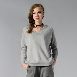 Wholesale Thin White V Neck Sweater - 2017 Women Pullovers Solid Sweaters Knitted Lady Sexy V-Neck Sweater Female Short Gray Black White High Quality Sweater