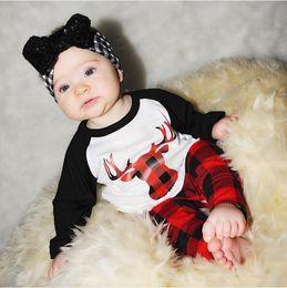 Wholesale Baby Girls Tshirts - 2017 Baby Clothing Sets Boys Girls Cartoon T-shirts Plaid Pants 2Pcs Set Autumn Toddler Long Sleeve tshirts Boutique Infant Clothes Outfits
