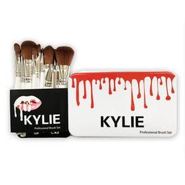 Wholesale Cosmetic Tins Wholesale - New Kylie Jenner Oval Makeup Brushes 12pcs Set Cosmetic Foundation Eye Shadow BB Cream Portable Too faced Brush Set Make Up Tools+Tin Box