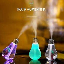 Wholesale Humidifier Night Light - 400ML USB DC 5V 7 Colors Night Light Air Ultrasonic Bulb Humidifier Oil Essential Aroma Diffuser Mist Maker Fogger