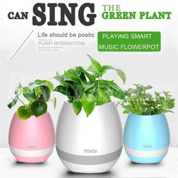 Wholesale Wholesale Home Audio - Creatives Touch Wireless Bluetooth Flowerpot Mini Subwoofer Speaker with LED Multiple Colors Home Smart Plant Office Mp3 Music Player Toy