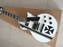 Wholesale White Emg - High quality custom E-S Iron Cross southwest James Hatfield signature electric guitar EMG snow white