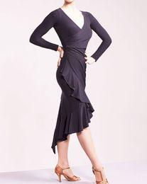 Wholesale Long Sleeve Dance Dress Women - 2017 New Latin dance dresses women's elegant long sleeves rumba Sasa tango samba costume competition Latin irregular skirt can be custom