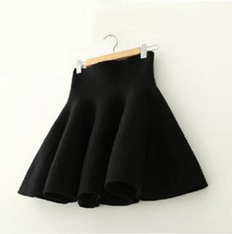 Wholesale Flared Mini Skirt High Waist - 2016 Spring Autumn High Waist Knitted Skirts Women Pleated mini Skirt Casual Elastic Flared Skirt Female midi Short Skirt Woman