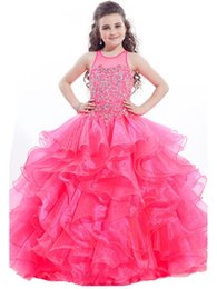 Wholesale Tank Top Prom Dresses - Big Girls Tank Top Beaded Prom Dress Special Occasion Ball Gowns Princess Girls Crystal Kids Ruffles Pageant Dresses