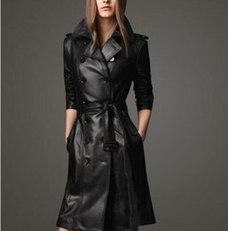 Wholesale Sexy Leather Breasts - Autumn black england slim sexy double-breasted leather trench coat for women windbreaker female long trench coat high waist 2XL