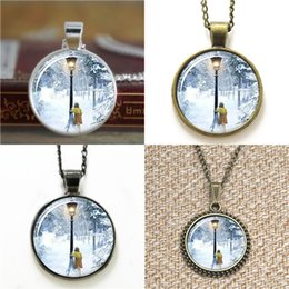 Wholesale post links - 10pcs The The Witch and The Wardrobe Lucy and Lamp Post Glass Photo Necklace keyring bookmark cufflink earring bracelet