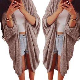 Wholesale womens sweaters jackets - Wholesale- Womens Lady Casual Knit Sleeve Sweater Coat Cardigan Jacket Large Plus Size XXXL