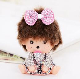 Wholesale Monchichi Dolls - Cute Cartoon Monchichi Doll Keychain Inlay Crystal Rhinestone Key chain Metal key ring Woman Bag pendant Christmas giftgift