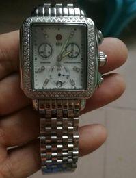 Wholesale Rectangle Diamonds - free shipping Michele Signature DECO Diamonds MOP Diamond Dial Watch Women's MWW06P000099