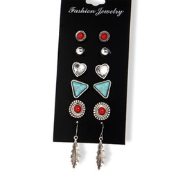 Wholesale Wholesale Fashion Stud Earring Set - 6 Pairs Set Boho Punk Ancient Silver Stud Earring For Women Summer Style Vintage Turquoise Leaves Earrings Set Fashion Jewelry