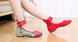 Wholesale Flower Linen Fabric - Vintage Embroidery Women Flats Flower Slip On Cotton Fabric Linen Comfortable Old Peking Ballerina Flat Shoes Sapato Feminino