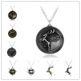 Wholesale Vintage Deer Head - Game of Thrones Necklace Family Logo Wolf Head Lion Deer Sheep Fish Vintage Pendant Necklace Jewelry Accessory Wholesale